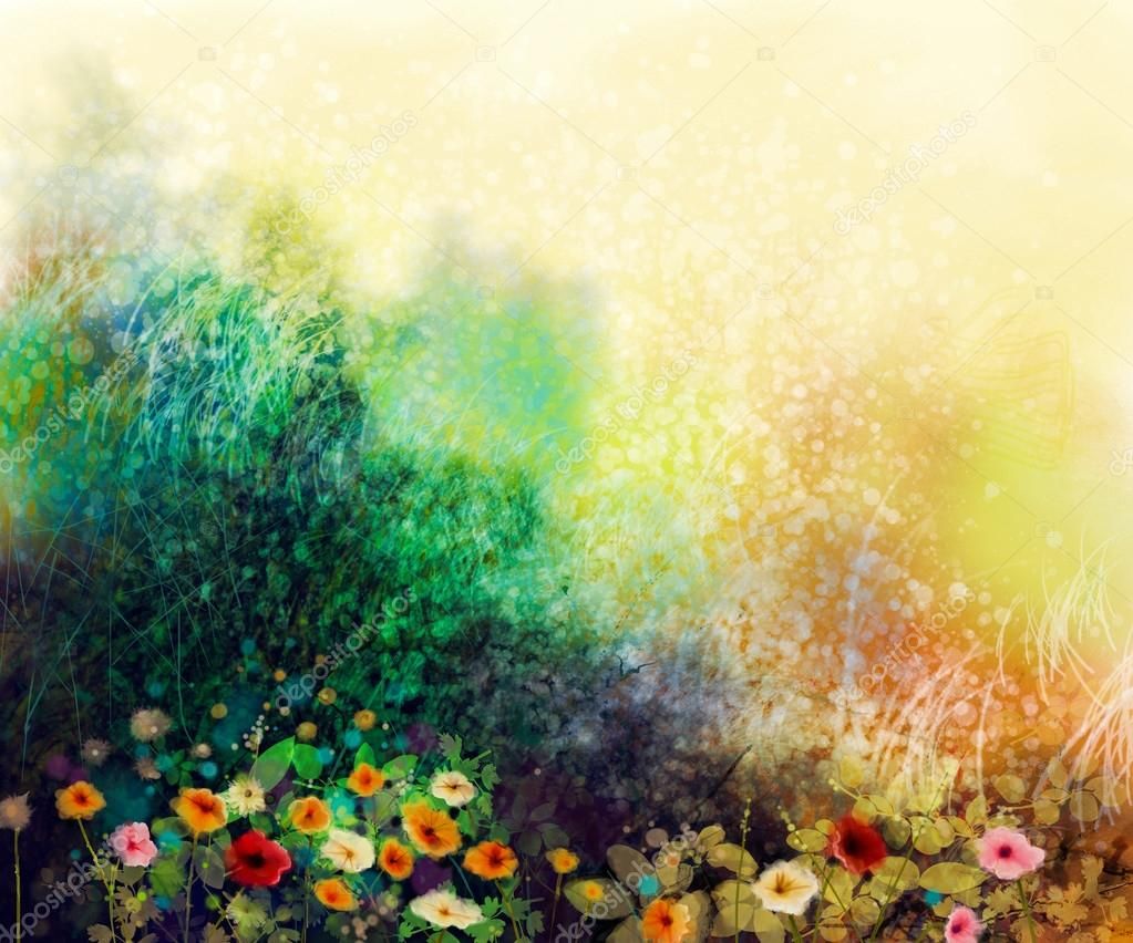 Abstract wildflowers, watercolor painting flower in meadows — Stock ...