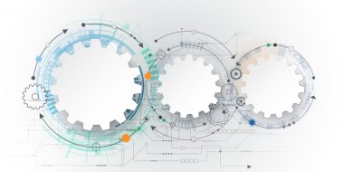 Vector futuristic technology, 3d white paper gear wheel on circuit board. Illustration hi-tech, engineering, digital telecoms concept.