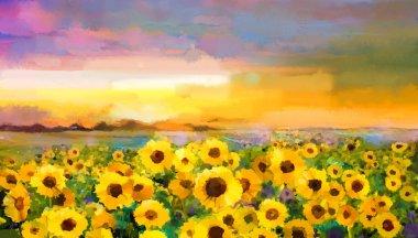 """Картина, постер, плакат, фотообои """"Картина маслом желто Золотой Подсолнух, цветы ромашки в областях."""", артикул 97923996"""