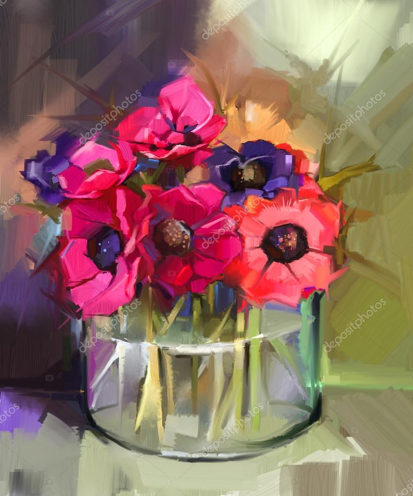 Still life a bouquet of flowers. Oil painting red anemones flower in glass vase