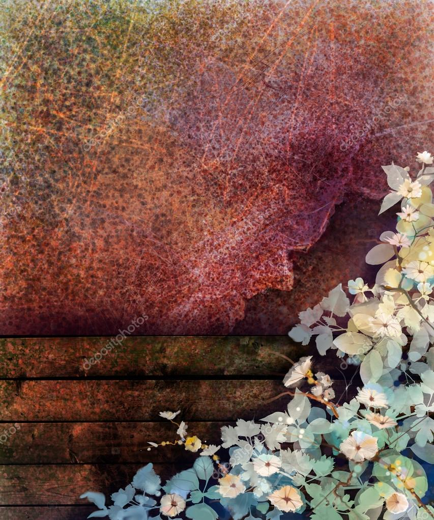 Abstract flower watercolor painting. Hand painted White, Yellow and Red Ivy flowers and leaf on wall and wood fence grunge texture background