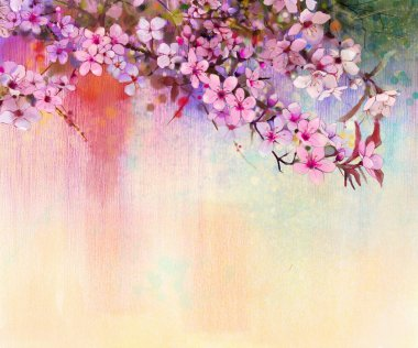 Watercolor Painting Cherry blossoms - Japanese cherry - Pink Sakura floral in soft color over blurred nature background