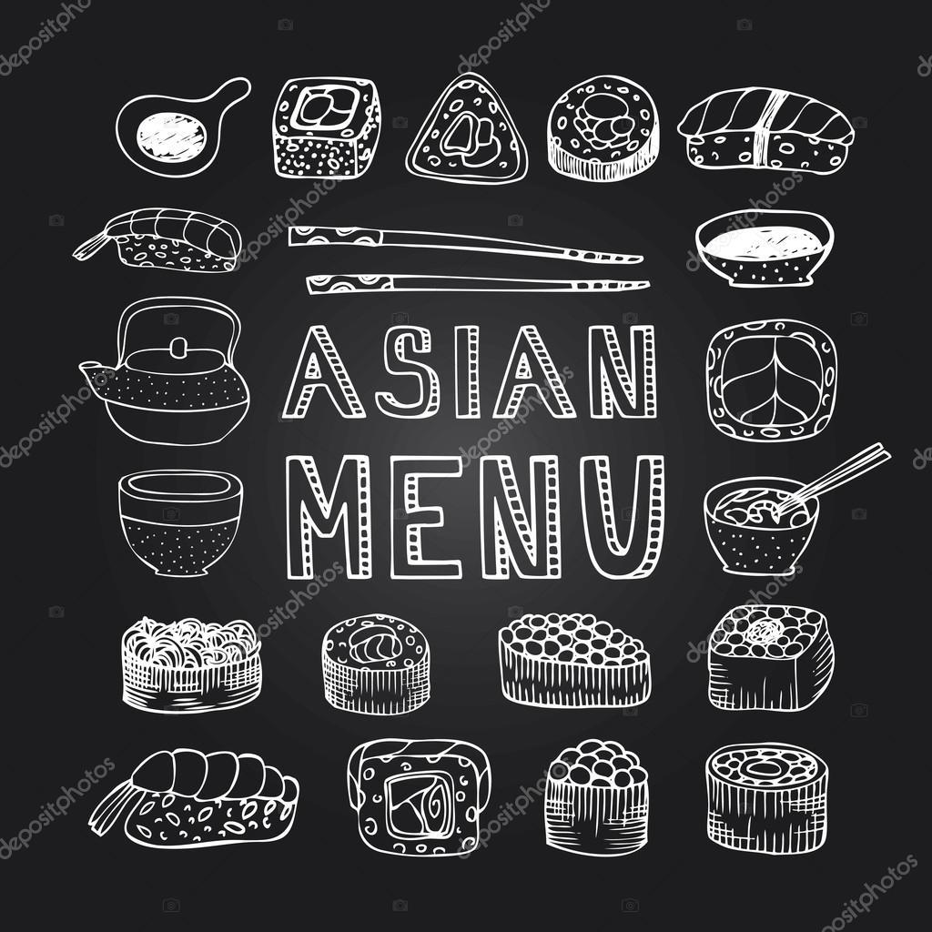 Azjatycki Menu Plakat Grafika Wektorowa Jly19 105218002