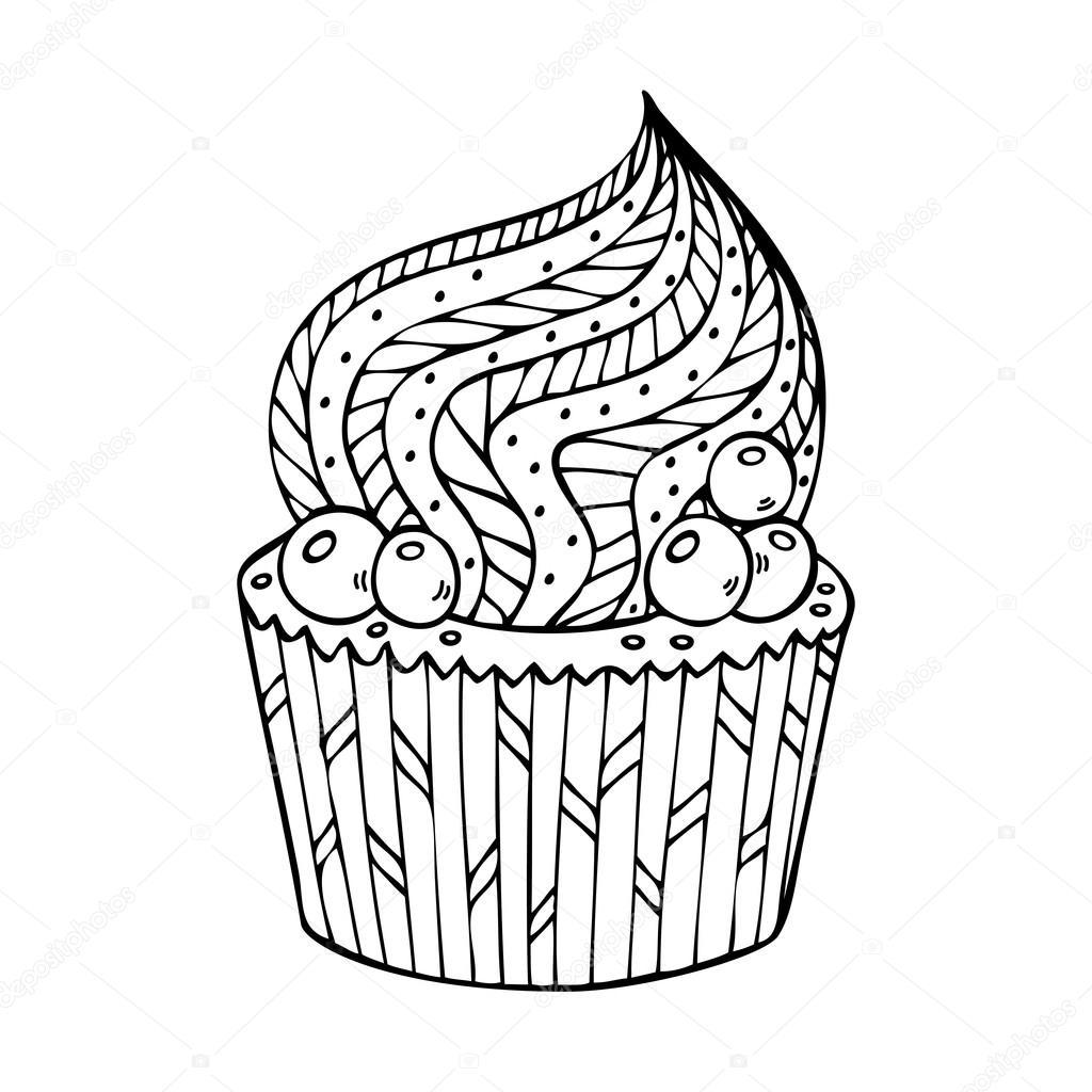 cupcake kleurplaten voor volwassenen stockvector 169 jly19
