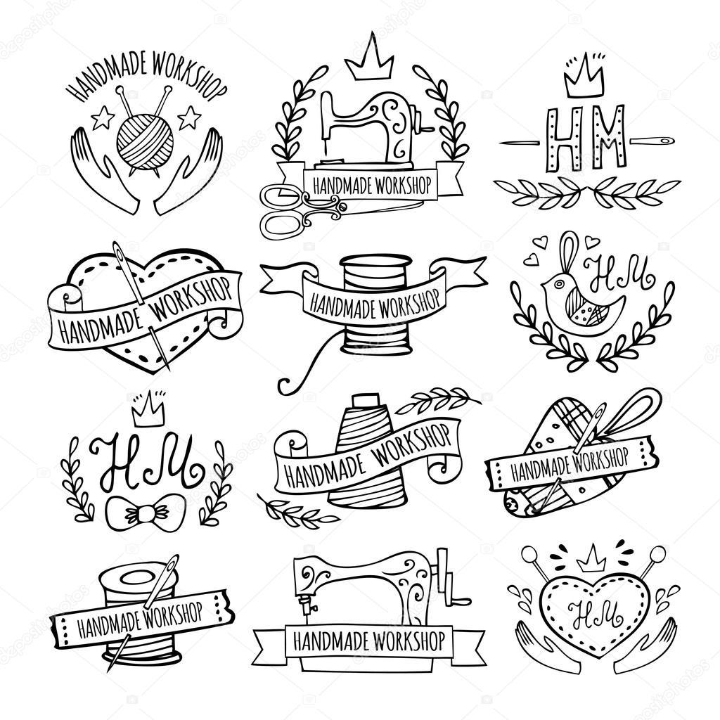 31164b7ebf Kézzel rajzolt logók Varró műhely halmaza. Kézműves műhely logó vintage  vektor készlet — Vektorok Jly19 ...