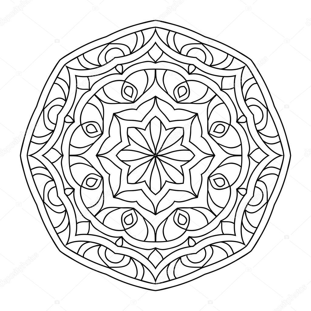 Mandala Boyama Kitabı Yetişkinler Için Stok Vektör Jly19 121980514