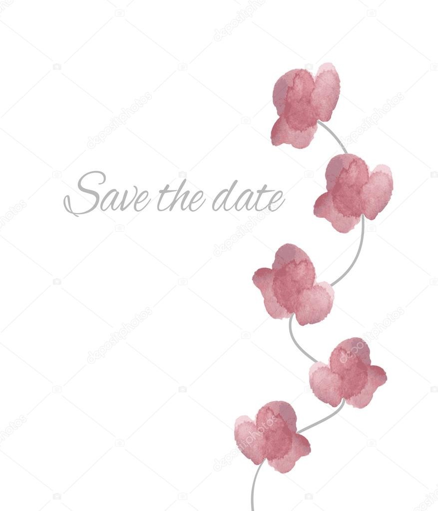 Save the date watercolor orchids