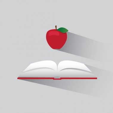 Vector logo book and apple