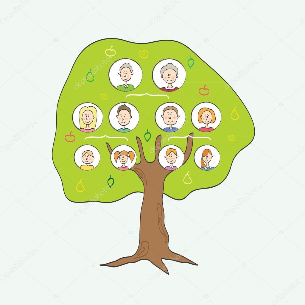 cartoon vector illustration of family tree u2014 stock vector jly19