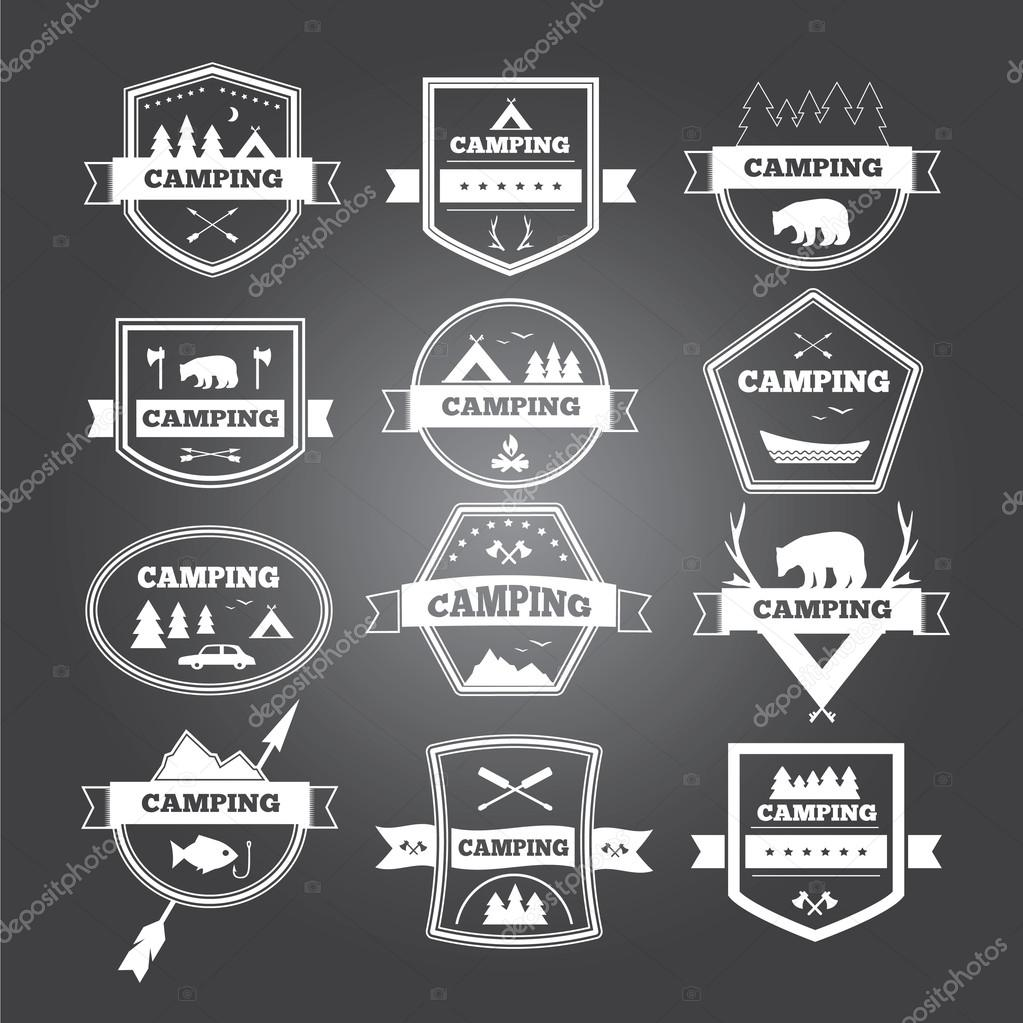 Set of vintage camping and outdoor activity logo collection