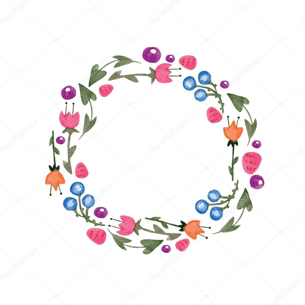 Frame of watercolor flowers made in vector