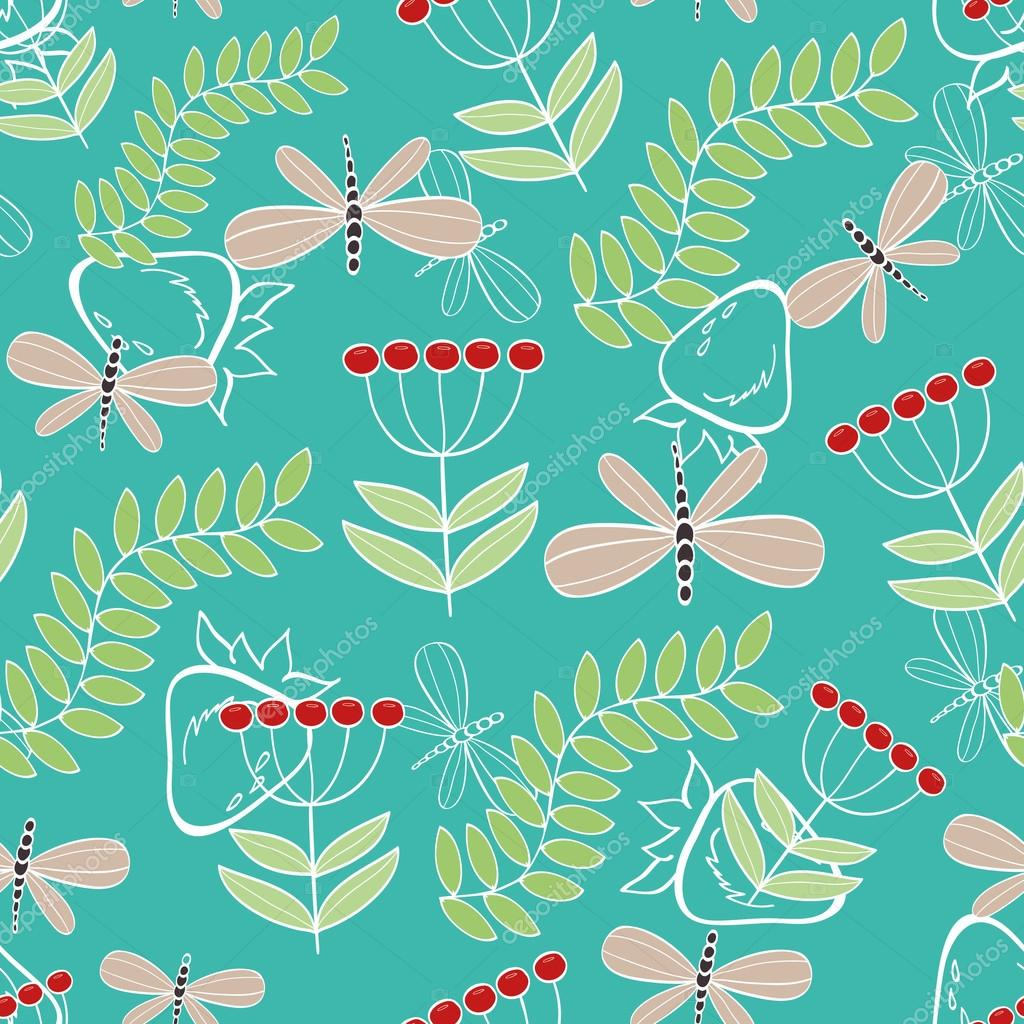 Seamless pattern cute cartoon dragonfly and plants