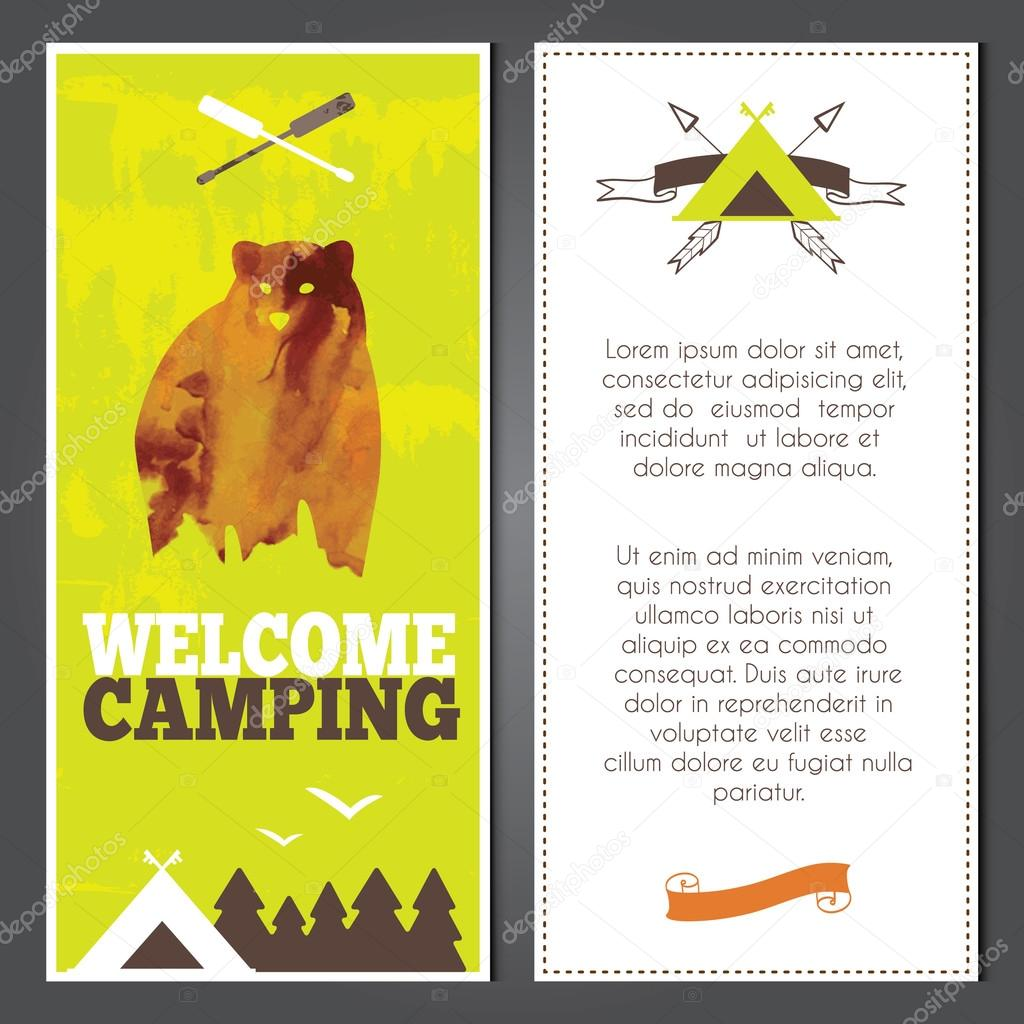 Vector camping invitations