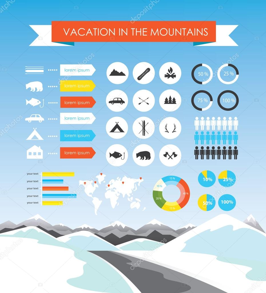 Vacation in the mountains infographics