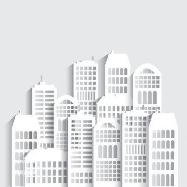 Abstract white skyscrapers made of paper