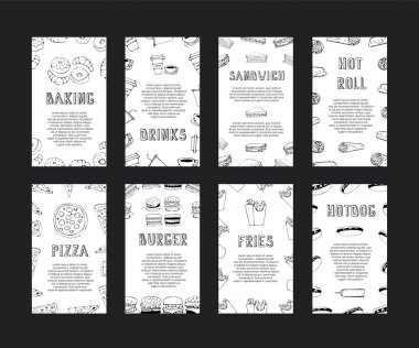 Hand drawn fast food cards.