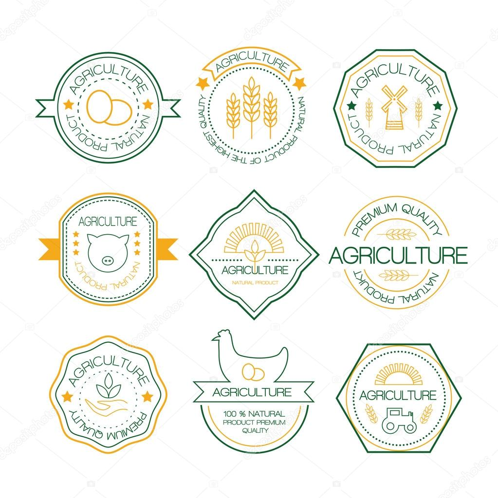 agriculture and farming logos in linear style stock vector jly19