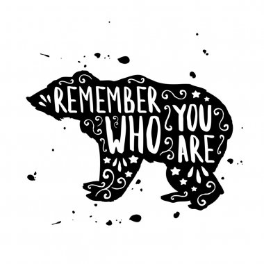 Hand drawn typographic poster with bear