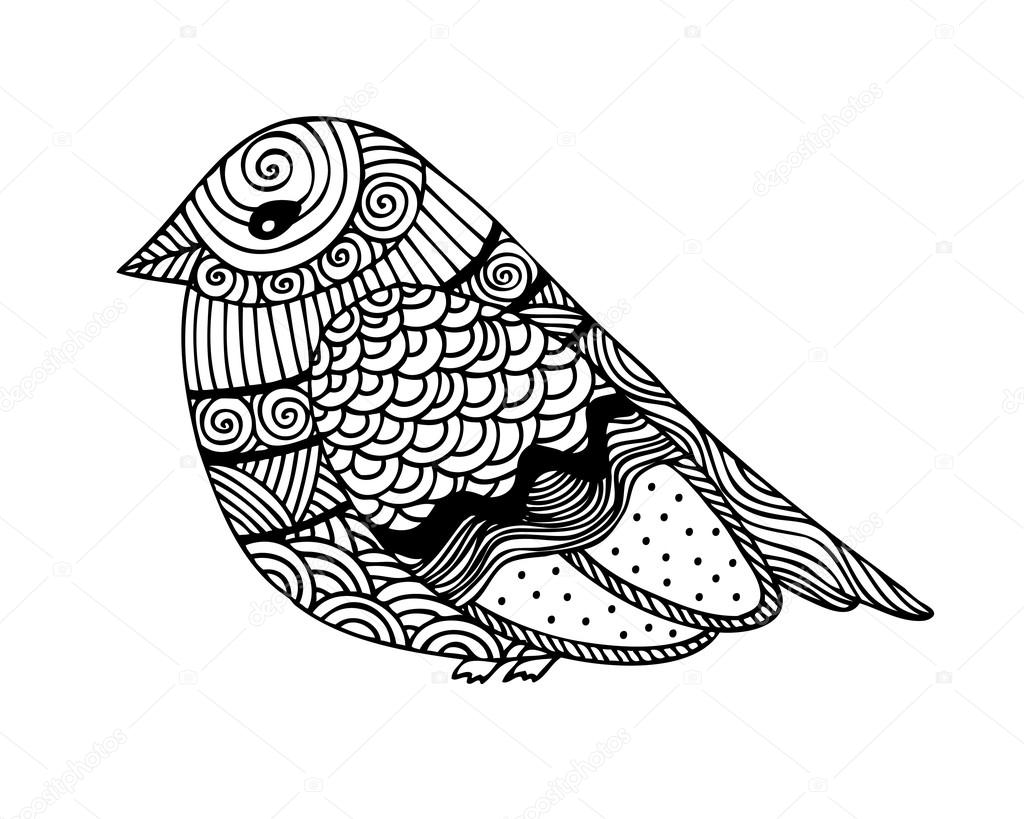 Adult coloring book page design with fantastic bird — Stock ...