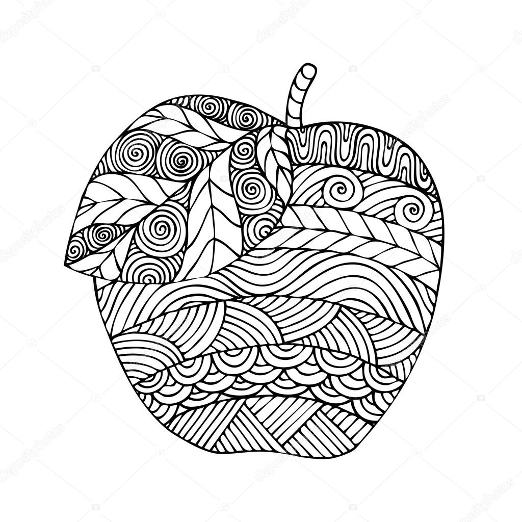 Adult coloring book page design with the image of an apple — Stock ...