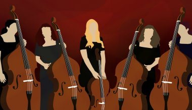Silhouette of cello players (musicians) on red background