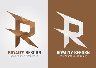 R Royalty reborn. Icon symbol from an alphabet R.