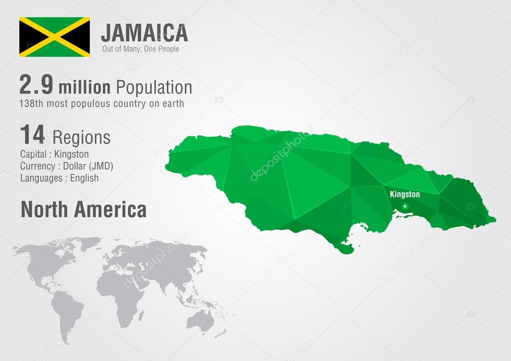 jamaica world map with a pixel diamond texture stock vector