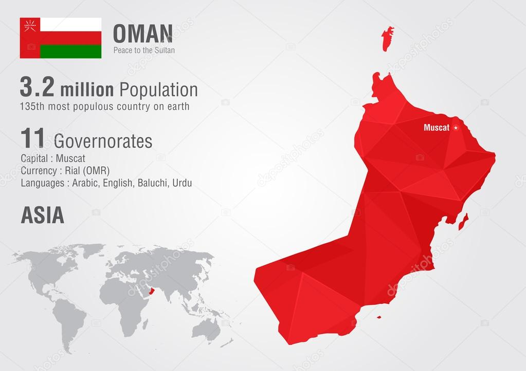 Oman world map with a pixel diamond texture Stock Vector