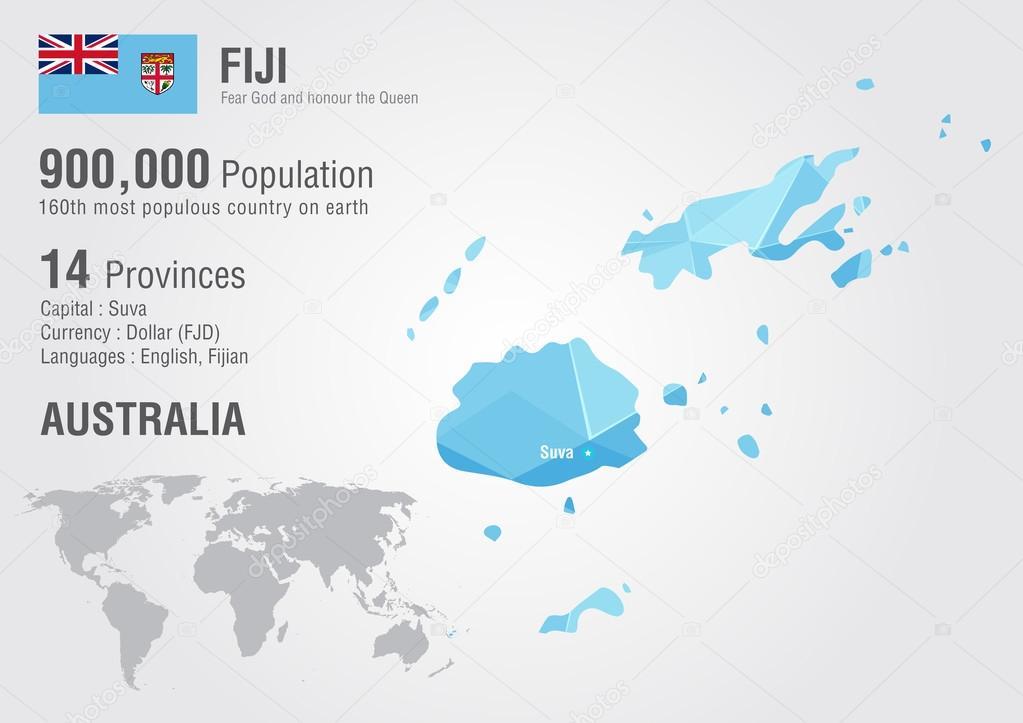 Fiji world map with a pixel diamond texture. — Stock Vector ...