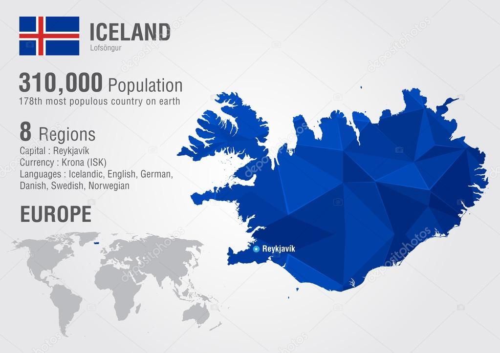 Iceland island world map with a pixel diamond texture stock iceland island world map with a pixel diamond texture stock vector publicscrutiny Gallery