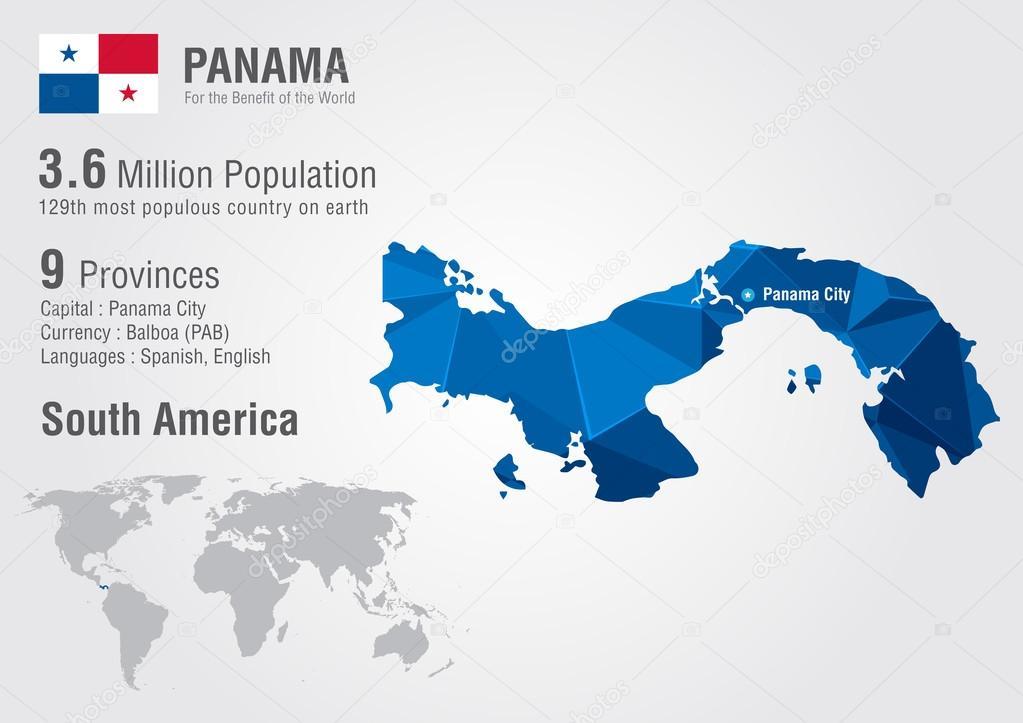 Panama On Map Of World.Panama World Map With A Pixel Diamond Texture Stock Vector