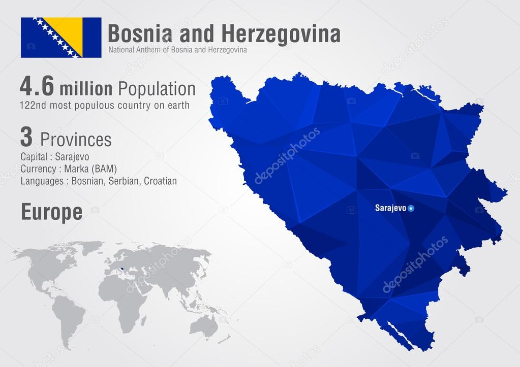 Bosnia World Map With A Pixel Diamond Texture Stock Vector - Where is bosnia on a world map