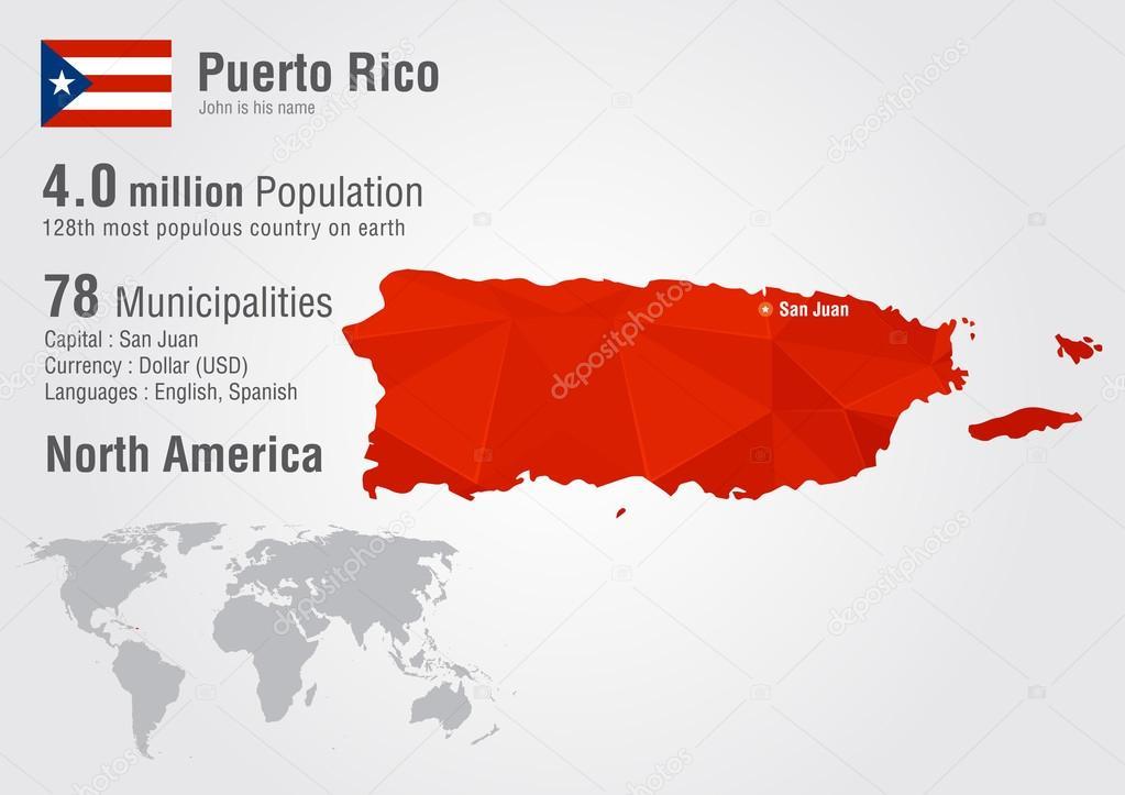 Puerto Rico-Weltkarte mit einer Pixel-Diamant-Struktur ...