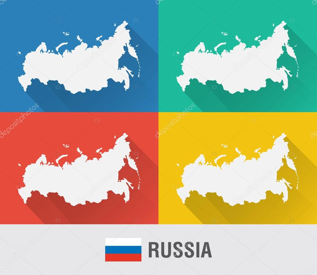 Russia Global Map.Russia World Map In Flat Style With 4 Colors Stock Vector