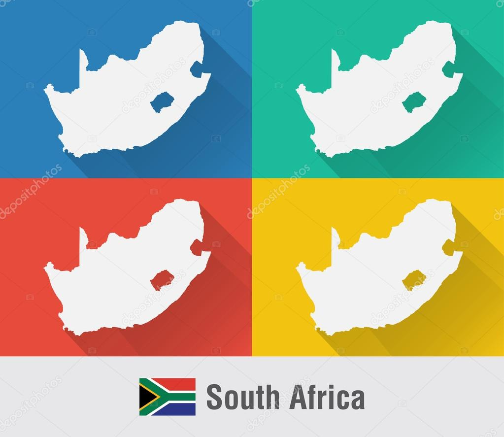 South Africa world map in flat style with 4 colors Stock Vector
