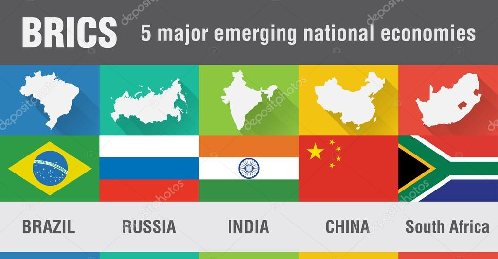Brics brazil russia india china south africa world map in fl brics brazil russia india china south africa world map in flat style with 4 colors modern map design vector by kameonline gumiabroncs Image collections