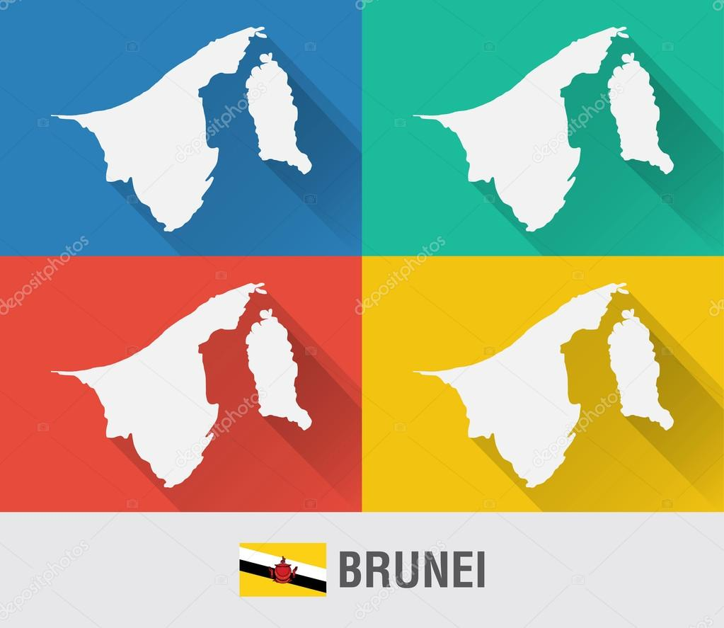 Brunei world map in flat style with 4 colors Stock Vector