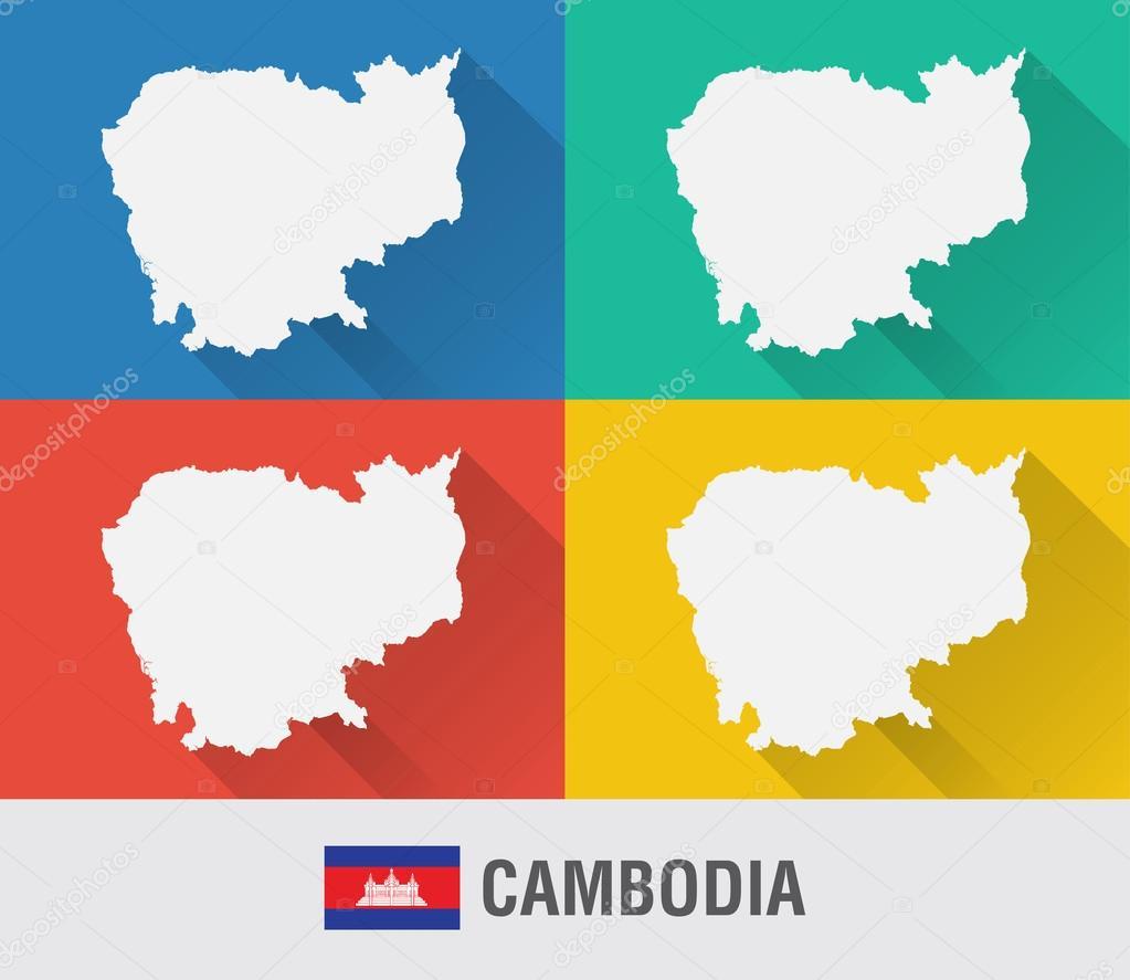 Mapa del mundo camboya plano estilo con 4 colores vector de stock cambodia world map in flat style with 4 colors modern map design vector de kameonline gumiabroncs Images