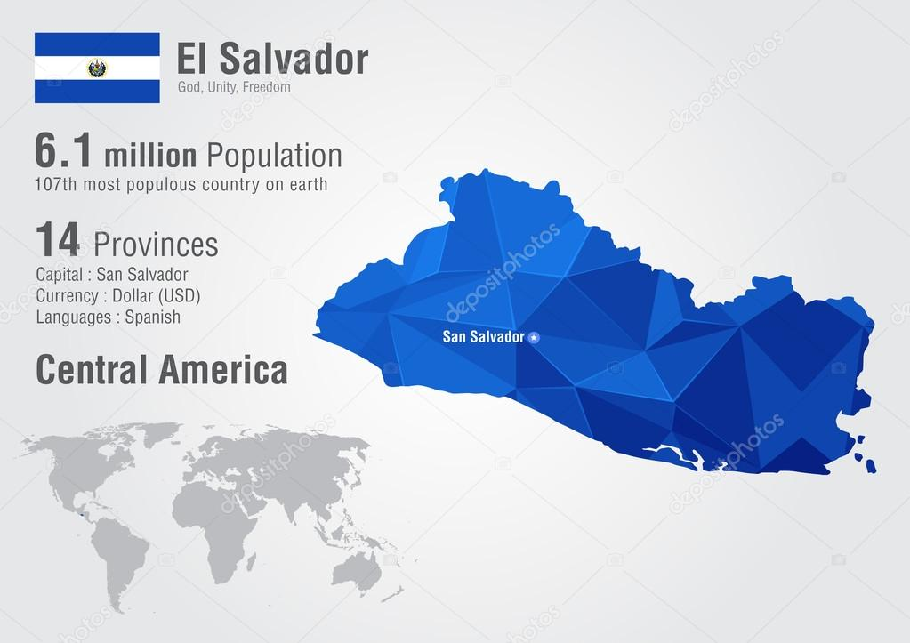 El Salvador World Map With A Pixel Diamond Texture Stock Vector - El salvador earth map