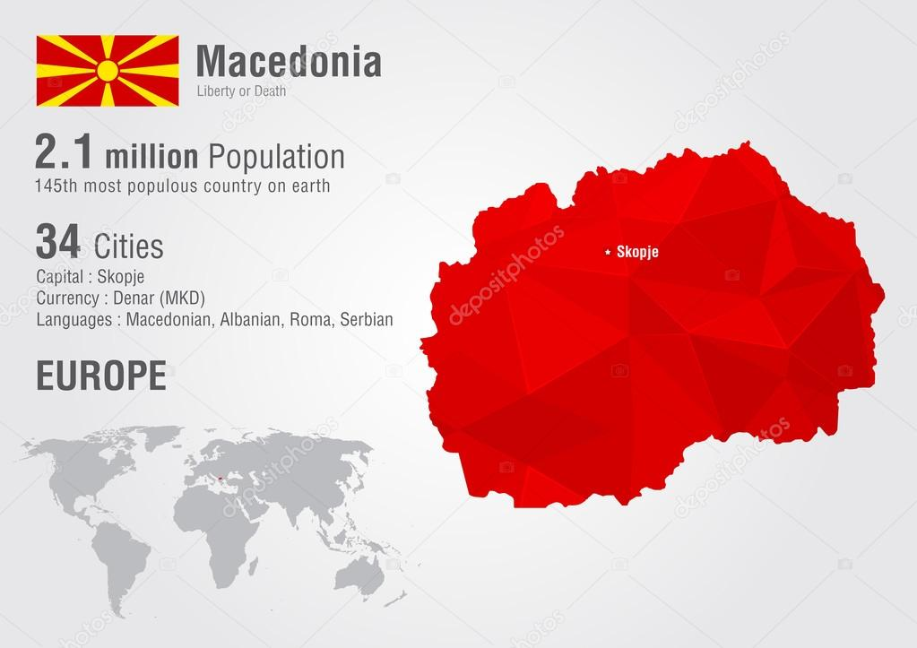 Macedonia World Map With A Pixel Diamond Texture Stock Vector