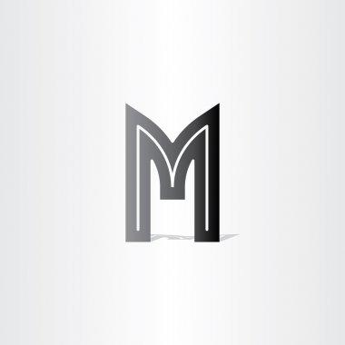 Letter m black symbol design
