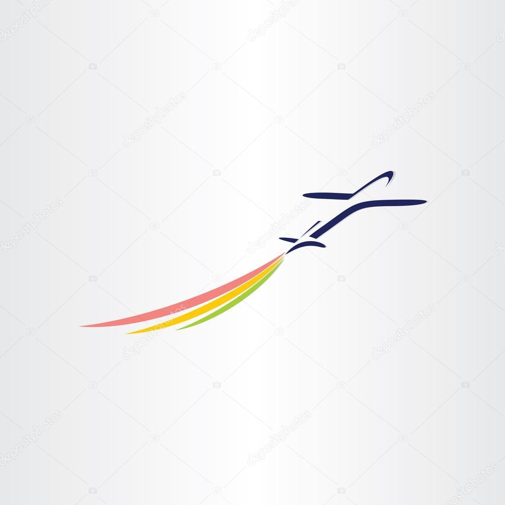 avión con símbolo de las líneas aéreas humo de color — Archivo ...