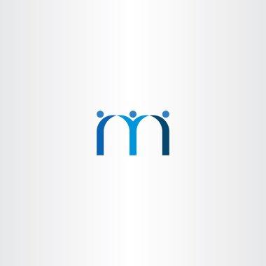 blue letter m people friends icon