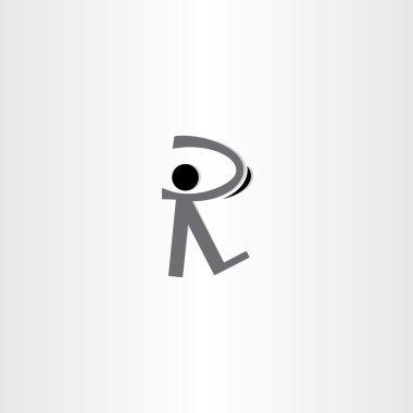man walking black icon letter r logo