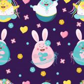 Frohe Ostern nahtlos Muster. Lustige Ostereier - Mädchen und Jungen mit Gesichtern, Emotionen und Händen, mit Hasenohren auf lila Hintergrund mit Blumen. Vektor. Für Design, Dekoration, Druck, Tapete