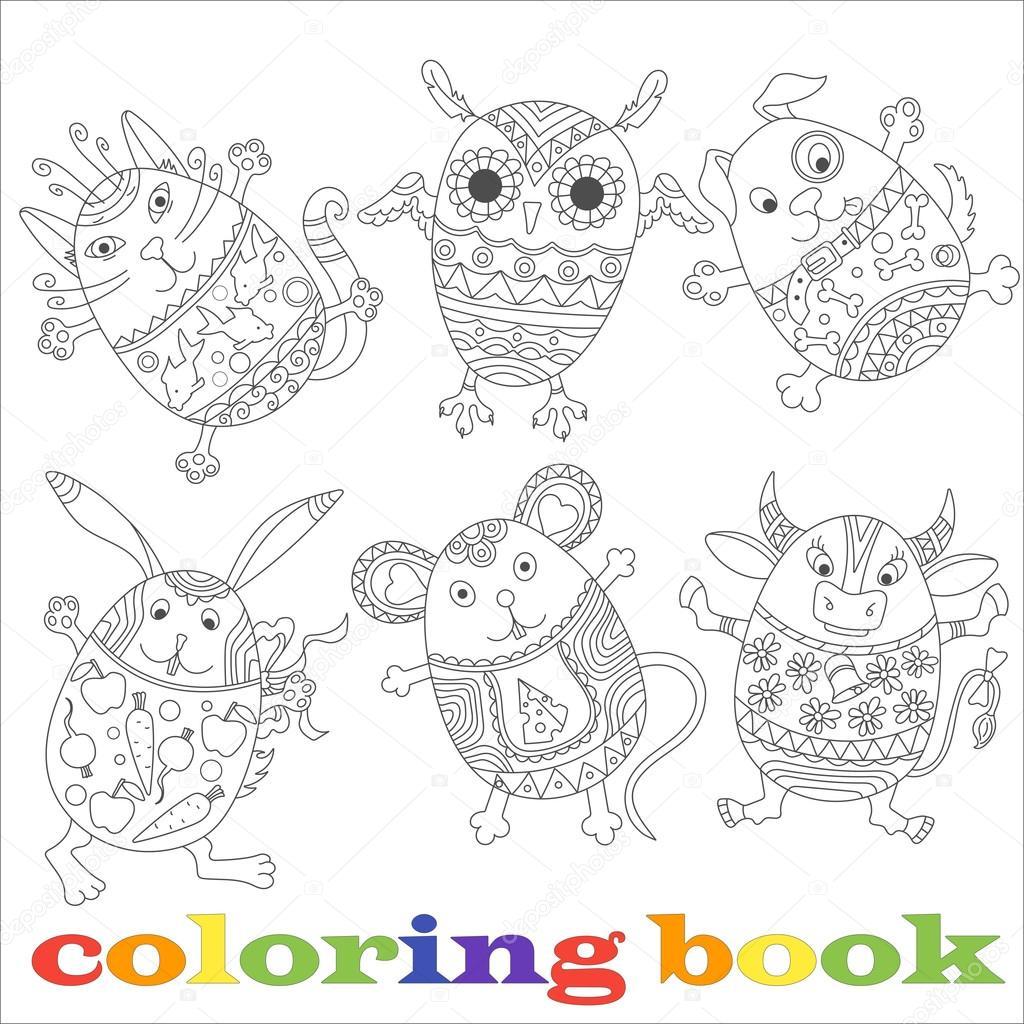 Un conjunto de contornos en forma de animales, libro de colorear los ...