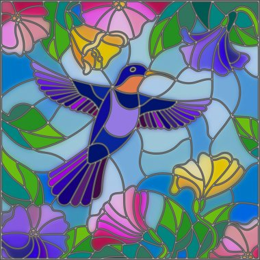 Illustration in stained glass style with colorful Hummingbird on background of the sky ,greenery and flowers