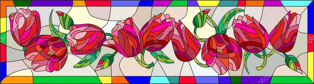 Illustration In Stained Glass Style With Tulips Buds And Leaves