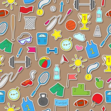 Seamless background on a theme sports and physical development , simple colored stickers on a brown  background