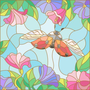 Illustration in stained glass style with bright ladybug against the sky, foliage and flowers